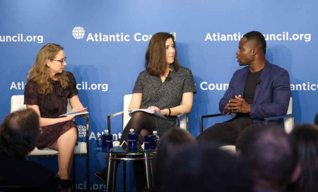 Ghanaian Olympian Akwasi Frimpong right speaking at the Atlantic Council alongside Bronwyn Bruton left and Cathy Hartman middle in photo courtesy Atlantic CouncilJasper Gilardi 1024x619 - Home